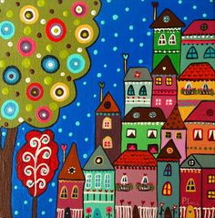 Painting For Kids, Painting & Drawing, Art For Kids, House Quilts, Naive Art, Whimsical Art, Art Plastique, Doodle Art, Cute Art