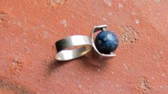 Spinning Modernist Sterling Ring with Lapis Bead