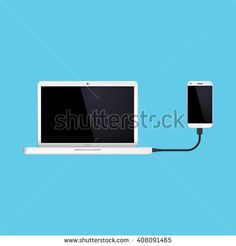 Laptop connected to hand phone. Vector illustration EPS 10 - stock vector