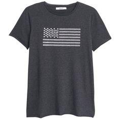 Mango Printed T-Shirt, Dark Grey ($23) ❤ liked on Polyvore featuring tops, t-shirts, mango t shirt, short sleeve tops, mango tee, short sleeve tees and dark gray t shirt