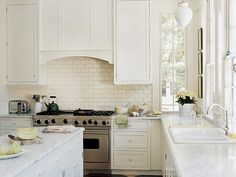 Simple White Kitchen oak cabinet subway tile |  , granite countertops, subway tile