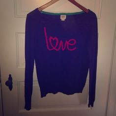 Pink and purple love sweater  Adorable sweater in great condition. I've only worn it once. Besides that it's just been chillin' in my closet. Mossimo Supply Co. Sweaters