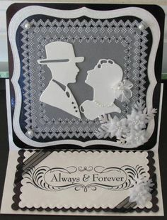 easel wedding card using spellbinders and Marianne Designs on parchment