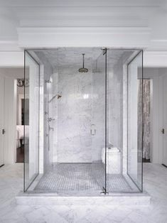 Traditional Master Bathroom White Marble And Glass Shower Enclosure Spa Inspired Bathroom, Spa Like Bathroom, Modern Bathroom, Master Bathroom, Bathroom Ideas, Bathroom Yellow, Bathroom Scales, Bathroom Showers, Ikea Bathroom
