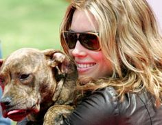Jessica Biel and her pit....aww he looks almost like my Biscuit!! :-)