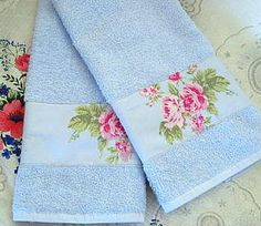 Custom Decorated Hand Towels   Designer fabric Roses by Sew1Pretty, $17.00