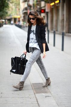 Ray Ban Sunglasses, H Blazer, H Jeans, Isabel Marant Booties, 3.1 Phillip Lim Bag, Romwe T Shirt, Zara Necklace