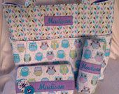 Happy Owl Diaper Bag Set with Matching Decorated Diaper Wipes Case and Changing Pad. Personalized free.
