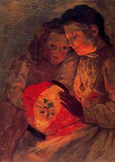 José Gutiérrez Solana (Spanish, 1886-1945) - Niños del farol. 1902