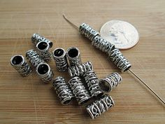 Metal Beads Silver Metal Spacers Silver Tube Beads by FLcowgirls #beadsforsale