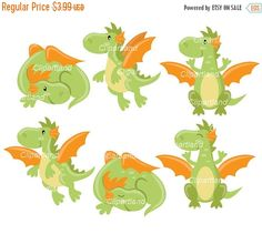 ON SALE INSTANT Download. Cd_5_Dragons. Cute dragons clip art. Personal and commercial use.