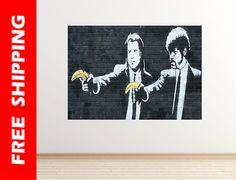 Pulp Banksy wall decal banana black & white graffiti art wall sticker banksy poster graffiti street art Banksy wall art Banksy 35 horizontal