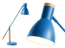 Cohen, lampe de table, bleu Memphis et chêne