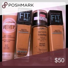 *40% off* 4 new foundation Buy more save more. Caramel. Toffee. Sable. Soft sable. Tawny. Caramel toffee. Maybelline Makeup Foundation