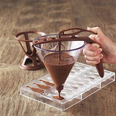 Chocolate Maker's Funnel makes chocolate making quick and easy with less mess. #kitchentip