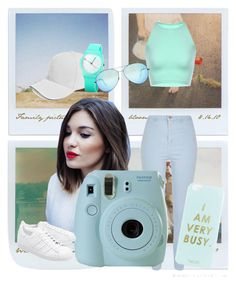 minty summer by a-mae-k on Polyvore featuring River Island, adidas Originals, Miss Selfridge, Boohoo, Victoria Beckham, Fujifilm, Polaroid, Summer, summerstyle and summer2016