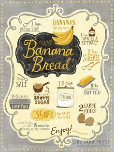 Banana Bread Recipe. #infographic More
