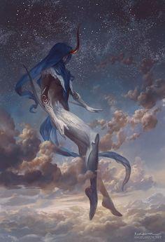 Shateiel, Tranquil Observer - Angelarium, by Peter Mohrbacher Fantasy Concept Art, Dark Fantasy Art, Fantasy Artwork, Fantasy World, Dark Art, Fantasy Inspiration, Character Design Inspiration, Fantasy Creatures, Mythical Creatures