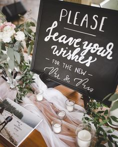Wedding Signs | Welcome Table | Guest Sign-in Table | Wedding Reception Decor Ideas | Kamea Events