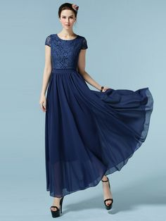 Solid Crochet Style Maxi Chiffon Dress & Dresses - at Jollychic