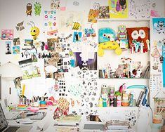 """Sneak Peek: Anders Arhoj. """"The design studio featuring my Crazy Person wall. I like to hang up stuff I'm working on or have finished. I'm not very good at throwing out."""" #sneakpeek"""