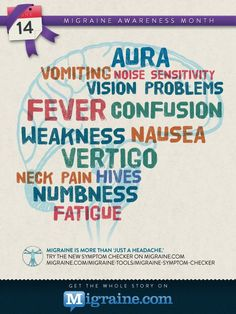"Migraine is more than ""just a headache."" Map your symptoms with Migraine.com's updated Symptom Checker: http://migraine.com/migraine-tools/migraine-symptom-checker/"