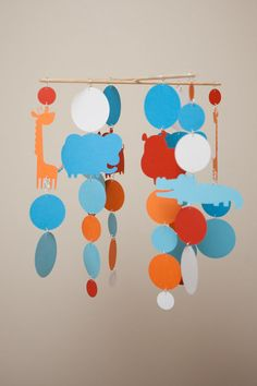 Zoo Animals Mobile  Elephant Giraffe by LilSproutCreations on Etsy, $35.00