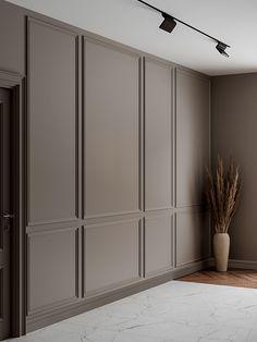 Modern Bedroom Design, Home Interior Design, Interior Design Inspiration, Modern Classic Bedroom, Wall Cladding Interior, Wall Molding, Moulding, Country Modern Home, Hotel Room Design