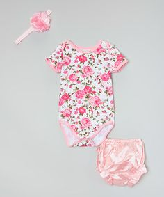 Another great find on #zulily! Pink Floral Bodysuit Set - Infant #zulilyfinds