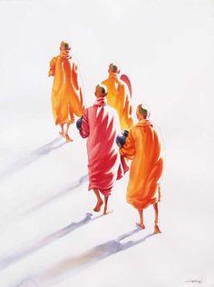 Towards Monastery (3) by Min Wae Aung - watercolor