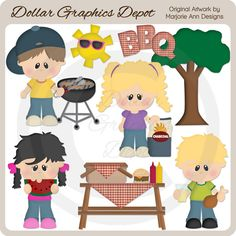 Backyard BBQ 1 Clip Art, by Marjorie Ann Designs - Only $1.00 at www.DollarGraphicsDepot.com : Great for printable crafts, web graphics, scrapbook pages, greeting cards, picnic / bbq invitations, menus, placemats, recipe cards / journals, outdoor clock faces, outdoor signs, apron iron-on transfers, and much more!
