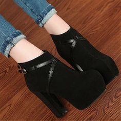 Womens Boots | Beautiful Suede Round Closed Toe Chunky Super High Heel Black Ankle Boots - Hugshoes.com