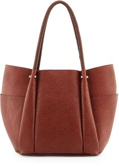 Neiman Marcus Tumbled Leather Braided-Handle Tote Bag, Cognac