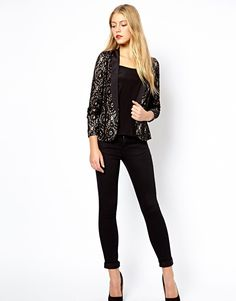 Oasis   Oasis Lace Tux Jacket at ASOS