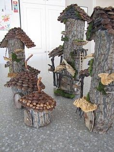 Fairy garden homes made out of logs and   big branches. Decorating on outside is all that is needed unless you can hollow   out the inside. For some of us that's too much headaches, for others, no big   deal. This is a nice idea.
