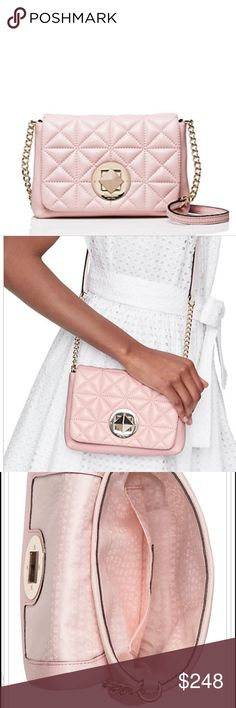 """Whitaker Place Naomi Posy Pink👛 cross body with embossed Kate spade New York signature turnlock closure. Interior side pocket. Sold foil printed Kate spade New York logo. Drop length: 23"""" Total strap length: 46"""" Quilted pebbled leather with a shimmer finish and a pebbled leather trim. 14-karat light gold plated hardware. Capital Kate jacquard lining. Style #wkru3589 kate spade Bags Crossbody Bags"""