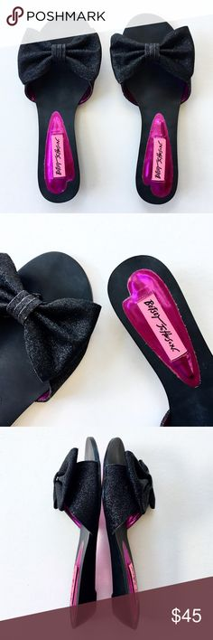 b502e1c7421f Betsey Johnson Glitter Bow Low Wedge Thong Sandal Betsey Johnson, Carlieee  style sandal This is