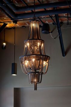 I.De.A: Upcycled Bicycle Chain Chandeliers