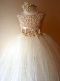 Ivory Flower Girl Dress, Ivory Tutu Dress, Bridesmaid Dress, Princess Dress, Ivory Crochet Top Tulle Dress, Ivory Hand Knit Tutu Dress