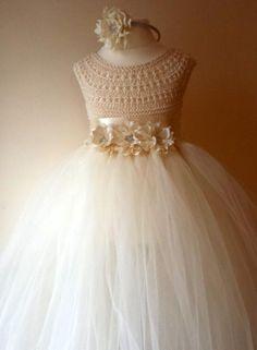 Ivory Flower Girl Dress, Ivory Tutu Dress, Bridesmaid Dress, Princess Dress, Ivory Crochet Top Tulle Dress, Ivory Hand Knit Tutu Dress