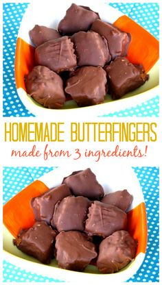 Homemade Butterfingers Made With 3 Ingredients - Chocolade Easy Candy Recipes, Chocolate Candy Recipes, Fudge Recipes, Sweet Recipes, Candy Corn Butterfinger Recipe, Bar Recipes, Chocolate Candy Bars, Köstliche Desserts, Bonbon