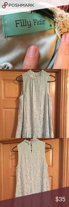 Filly flare mint green lace dress Brand new, never worn. Perfect for a rustic wedding guest dress, beautiful lace that buttons in the back, high neck, goes to just above the knee. Dresses Midi