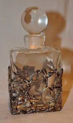 Vintage PERFUME BOTTLE w/ Stopper Silvertone by gumlogmercantile
