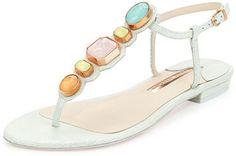 Sophia Webster Lily Gem Iridescent Sandal, Mint