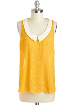My perfect top - mustard, scalloped, collar! Bead and Breakfast Top, #ModCloth