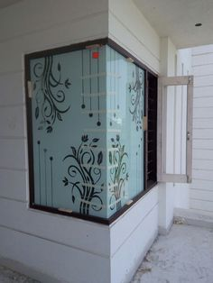 Etched Glass Door, Glass Painting Designs, House Gate Design, Steel Railing Design, Glass Etching Designs, Glass Wall Design, Glass Design, Balcony Glass Design, Window Glass Design