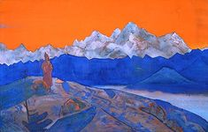 Red Lama, 1924 by Nicholas Roerich. Symbolism. religious painting. Private Collection