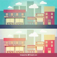 Retro city Free Vector