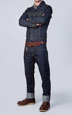Lee 101 Trucker denim jacket reissue and Lee selvedge denim jeans.