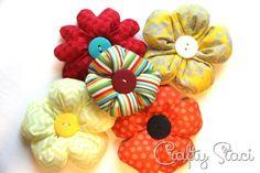 Puffy Fabric Flowers - Crafty Staci 12